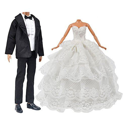 Kleid für Barbie,Beetest Puppe Spielzeug Hochzeit Kleidung Pack 1 Stück Mädchen Puppe Braut Brautkleid mit Schleier für Barbie Doll + 1 Set Bräutigam Anzug für KEN Puppe Kinder Geburtstag Weihnachtsgeschenk (Kleidung Braut Puppe)