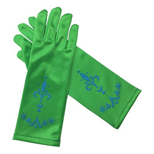 Frozen Anna Fever Kostüm - La Señorita Elsa Frozen Fever Handschuhe Grün für Mädchen Eiskönigin