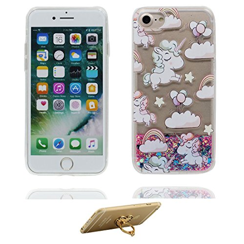 "Coque iPhone 7 Plus, iPhone 7 Plus étui Cover 5.5"", (Fille noire Umbrella) - Bling Bling Glitter Fluide Liquide Sparkles Sables, iPhone 7 Plus Case, Shell -anti-chocs & ring Support # 3"