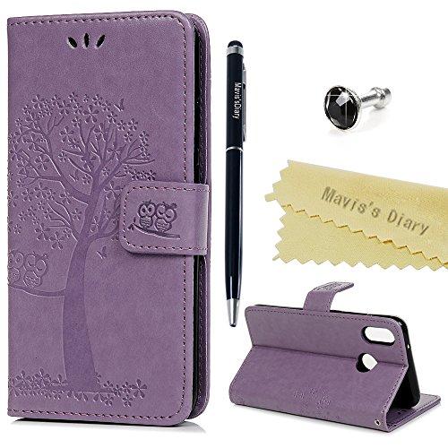 Huawei P20 Lite Hülle Case Mavis's Diary Eule Baum Muster Leder Tasche Handyhülle Flip Cover Schutzhülle Lederhülle Skin Ständer Schale Handytasche Bumper Magnetverschluss Klappbar Ledertasche-Lila