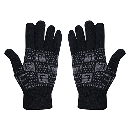 Stylathon Unisex Woolen Thermal Winter Gloves( ,Black,Free Size)