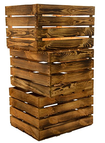 3er Set Massive Obstkiste Apfelkiste Weinkiste aus dem Alten Land +++ 49 x 42 x 31 cm (GEFLAMMT) - Alte Holz-brenner