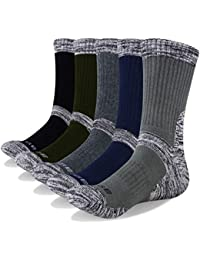 YUEDGE Men's 5 Pairs Wicking Breathable Cushion Anti Blister Casual Crew Socks Outdoor Multi Performance Hiking Trekking Walking Athletic Socks
