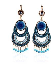 Lureme dorado con perlas de esmalte de piedra redondas círculos pendientes colgantes colgante para las niñas y mujeres (02003369-1) (azul)