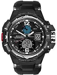 Skye Reker Digital montre homme montres de sports de plein air Dual Display montres étanche PU Strap-Noir