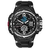 Montre de mode de luxe montres de sport numérique à l'extérieur Montre à LED à double affichage à quartz analogique analogique montre-bracelet imperméable à l'eau