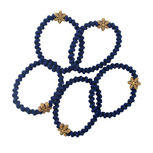 HAND La Main de Bandeaux pour Les Cheveux forts Spirale Bleu foncé texturé avec Motif Flocon de Neige Brune séduisante - Pack de 5
