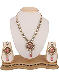Dancing Girl Bridal Wedding Pink Metal Alloy Jewellery Set With Necklace And Earring For Women