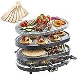 VonShef Appareil à Raclette 3 en 1 - Plaques interchangeables grill, et crêpe party - Avec 8 spatules en bois et poêlons antiadhésifs