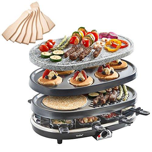 VonShef 3-in-1 Raclette-Grill für 8 Personen mit Naturstein & Grillplatten, Fondue-Wärmer, Tapas & Mini Crepe Maker inkl. Pfännchen & Racletteschiebern