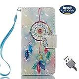 Aireratze iPod Touch 6 Handyhülle, Touch 5 Hülle PU Glatte Glitter 3D Oberfläche helle Farbe niedlich Fall für Kinder [Handschlaufe angebracht] in Hellblau Hülle für iPod Touch 6/Touch 5 (USB Cable)
