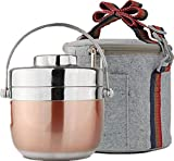 Homemper Lunchbox aus Edelstahl,Büro-Lebensmittel-Aufbewahrungsboxen,Lunch-Container für die Arbeit (2-Tier)(Lunchbox-Set) (Roségold)