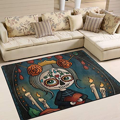 Naanle - Alfombra Antideslizante con diseño de Calavera Mexicana para salón, Comedor, Dormitorio...