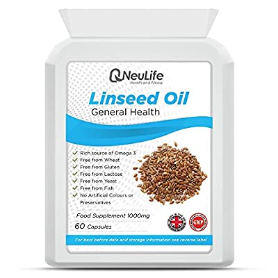 Linseed Oil 1000mg - 60 Capsules - by Neulife Health and Fitness