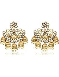 Meenaz Gold Plated Chandbali White Pearl Kundan Jhumka Jhumki Earrings For Girls & Women - 193