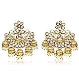#10: Meenaz Gold Plated Chandbali White Pearl Kundan Jhumka Jhumki Earrings For Girls & Women - 193
