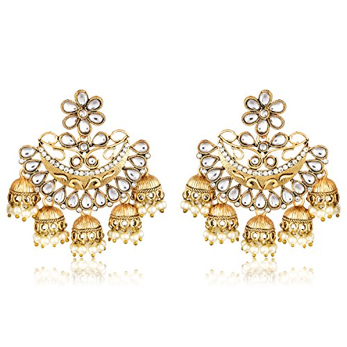 Meenaz Fashion Jewellery Traditional Gold plated Chandbali Pearl Kundan Jhumka Jhumki Earrings for Girls women Combo partywear stylish Wedding Jewelry Hangings Jhumka Earrings Pendants for girls- jhumki earrings-193