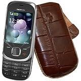 Original Suncase Echt Ledertasche (Lasche mit Rückzugfunktion) für Nokia 7230 Slide in croco-braun