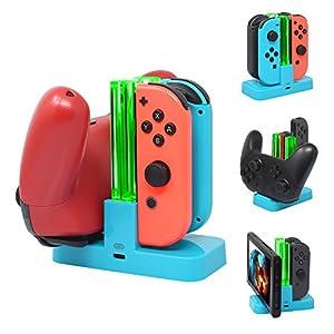 [5in1] FastSnail Controller Ladegerät für Nintendo Switch, Ladestation für Switch Joy-Con und Pro Controller mit Ladeanzeige und Typ C Ladekabel rot