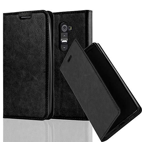 Cadorabo Hülle für LG G2 - Hülle in Nacht SCHWARZ – Handyhülle mit Magnetverschluss, Standfunktion und Kartenfach - Case Cover Schutzhülle Etui Tasche Book Klapp Style