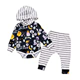Kleinkind Jungen Mädchen 2018 New Halloween Kleidung Outfits mingfa Hooded Long Sleeve gestreift Strampler Hose 2-teiliges Set, 6M, mehrfarbig, 1