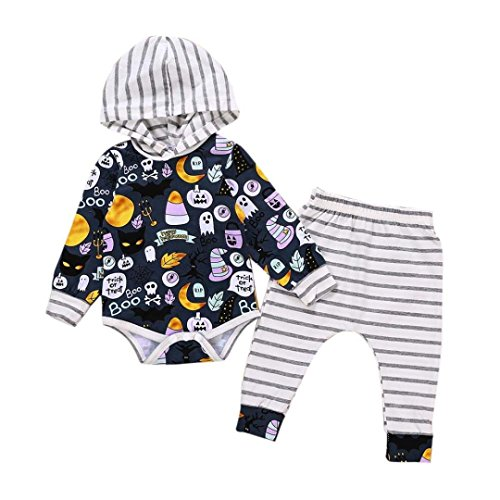 Kleinkind Jungen Mädchen 2018 New Halloween Kleidung Outfits mingfa Hooded Long Sleeve gestreift Strampler Hose 2-teiliges Set, 3M, mehrfarbig, 1