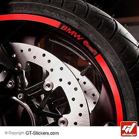 KIT Liserets de jante Moto - BMW F800R - Rouge - F800 R, F 800 R, F 800R, Sticker, Autocollant, Stickers, Autocollants, GT-Design