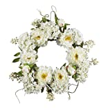 Nearly Natural 4690 Peony Hydrangea Wreath, 20-Inch, White by Nearly Natural