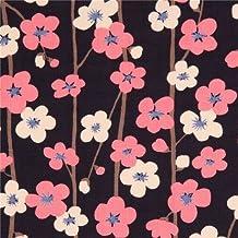 Tela dobby azul marino con textura linda flor cerezo crema claro y rosa de Japón