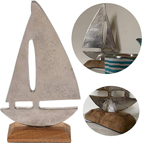 LS-LebenStil Deko Segelschiff Segelboot Alu Holz 23cm Silber Maritim Bad-Deko