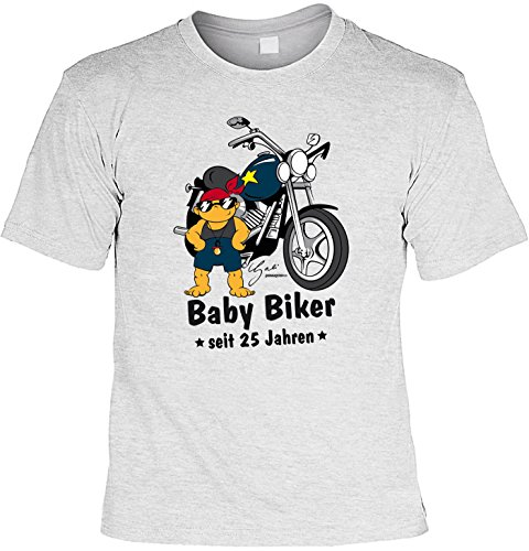 T-Shirt zum 24. Geburtstag Baby Biker Laiberl Geschenk zum 24 Geburtstag 24 Jahre Geburtstagsgeschenk 24-jähriger Bruder Freund Grau