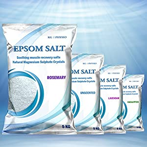 Epsom Salts 5kg by KG | PHYSIO Pure Magnesium Sulphate Crystals used for Muscle Recovery 4 scents available! Unscented, Lavendar, Rosemary and Eucalyptus (Rosemary)