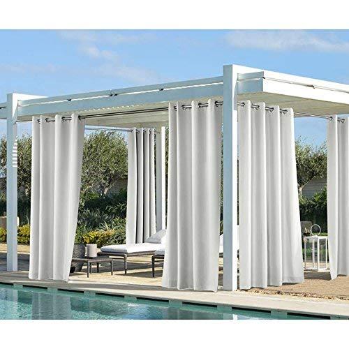 Coastal Farbe Woven Outdoor Vorhang mit Ösen, weiß, 50