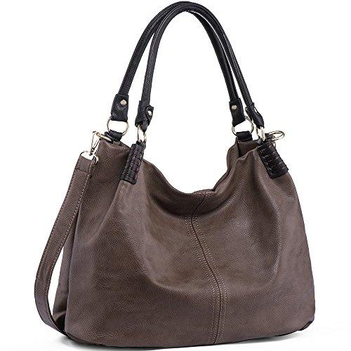 WISHESGEM Handtaschen Damen Schultertaschen Umhängetaschen Große Crossbody Hobo Taschen Damen PU Leder Henkeltaschen Shopper (L31CM * W15CM * H28CM) Dunkle Kastanie -