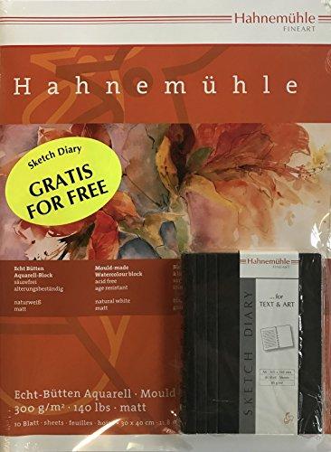 Hahnemühle Echt Bütten Aquarellblock 30 x 40cm - 300g - 10 Blatt inkl. 1 Skizzenbuch DIN A6 GRATIS