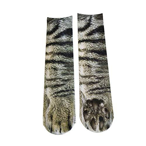 Biback Weihnachtssocken, 4 Paar/Pack, 3D-Tiersocken, Baumwolle, Halloween-Socken, elastisch, atmungsaktiv, 3D-Bedruckt, Lange Socken 007#