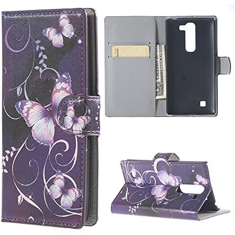 LG G4C H525N Case,PU Cuero Cartera Case Cubrir Funda para LG Magna(5 pulgadas)/LG G4C H525N Cover Carcasa Piel Caso protectora Flip Case Coevr Con soporte + bolsillo de tarjeta (03 mariposa)