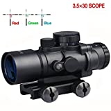 HMELOVE Tactical AR15 Rifle Scope Prism 3.5x30 Red Green Blue Triple Illuminated Rapid