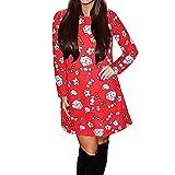 MEIbax Damen Langarm Weihnachtsmann Print Pullover Ausgestelltes Kleid Swingkleid Sweatshirt Lange Abend Party Kleid