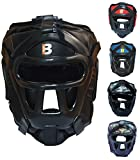 Stylisch MMA Kopfschutz für Boxen Muay Thai Kickboxen UFC Sparring-training Krav maga Kampfsport. Einstellbarer Gesichtsvollschutz Gitter Kopfbedeckung - Helm für frauen und herren von BOUT3 (Extra Large, Black)