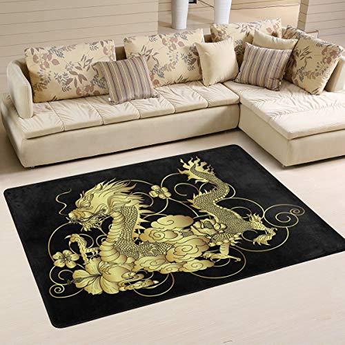 Jereee Teppich mit chinesischem Drachen-Motiv, 90 x 60 cm, Rutschfest, Mehrfarbig, rechteckig, für den Innenbereich, Polyester, für Schlafzimmer, Wohnzimmer und Esszimmer, Polyester, Multi, 6' x 4' - Rechteckige Mehrfarbige Teppiche