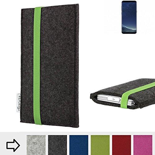 flat.design Handy Hülle Coimbra für Samsung Galaxy S8 handgefertigte Handytasche Filz Tasche fair grün dunkelgrau