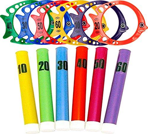 ENFANTS piscine Jeux fluorescentes Dive Stick et vertical Poisson Combo Lot de 6 chaque
