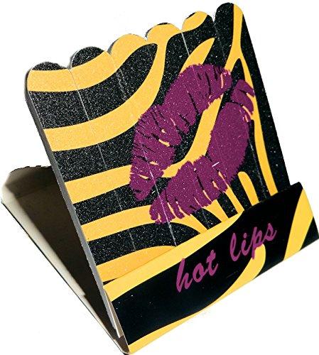 Mini kit de limes en forme de zündholzbriefchen : Hot Lips Jaune/Noir zebra ~ Idéal pour les Sac à main ou un petit Attention pour offrir