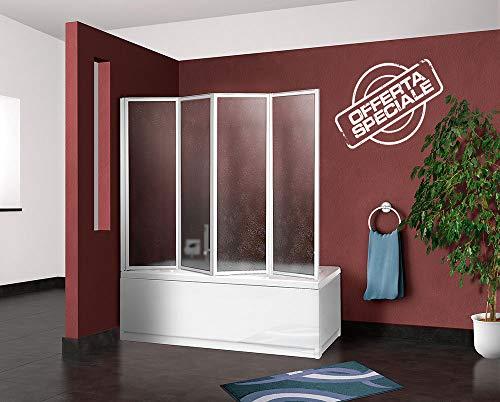 Box parete vasca doccia sopravasca cm.67/68+133, 4 pannelli pieghevoli