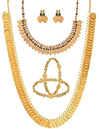 Zeneme Temple Coin Combo Of Red And Green Golden Plate Necklace , Chain With Bangles For Women