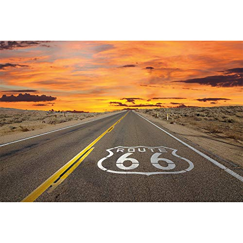 GREAT ART XXL Poster - Route 66 - Wandbild Dekoration Amerika Highway Chicago Kalifornien Reisen Urlaub Sonnenuntergang Wüste USA Deko - Wandposter Fotoposter Wanddeko Bild Wandgestaltung Motiv (140 x 100 cm)