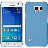 PhoneNatic Case für Samsung Galaxy S6 Active Hülle hellblau gummiert Hard-case + 2 Schutzfolien