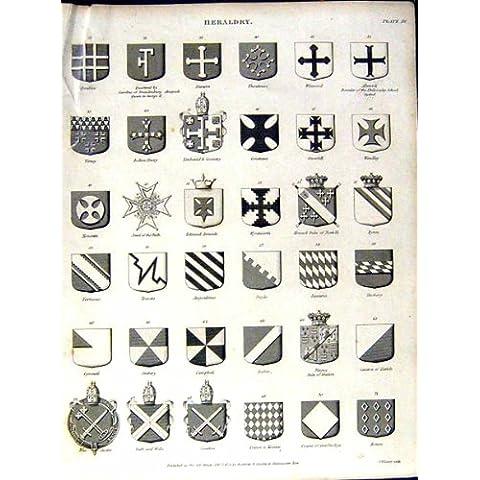 La Stampa Antica del Cappotto dell'Araldica *1002 Arma l'Enciclopedia Britannica C1832 - Cappotto Britannico Di Armi