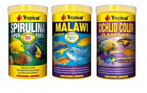 Tropical Fodera Set Malawi Spirulina forte Cichlid color 3 X 1 L